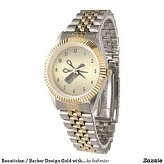 Sold Beautician / Barber Design Gold with Black Numbers Wristwatch 15% Off #zazzle www.leatherwooddesign.com