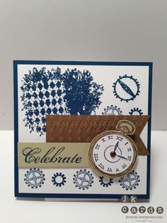 Card Stock: Whisper White, Midnight Muse, River Rock and Soft Suede     Ink: Soft Suede and Midnight Muse Classic Stampin' Ink     Stamp Sets: Clockworks and Feeling Sentimental Clear Mount     Embossing Folder: Argyle     Punches: 1 1/4″ Circle and 1 3/8″ Circle     Embellishments: Metallic 3/16″ Brads     Tools: Big Shot, 2-Way Glue, Stampin' Dimensionals and SNAIL