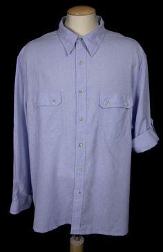 TILLEY ENDURABLES Mens Shirt Size Big & Tall 3XL 3XLT Blue Travel Work #TilleyEndurables #ButtonFront