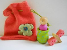 Waldorf coral cashmere pouch with wood doll by laughingcrickets