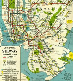 ca. 1950 New York City subway map. Only the southern part was captured