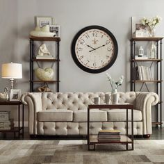 Tribecca Home Knightsbridge Beige Linen Tufted Scroll Arm Chesterfield Sofa | Overstock.com Shopping - Great Deals on Tribecca Home Sofas & ...