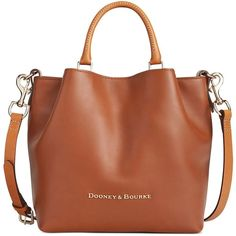 Dooney & Bourke Small Barlow Tote ($328) ❤ liked on Polyvore featuring bags, handbags, tote bags, natural, brown leather handbags, dooney bourke tote, brown leather tote bag, brown leather purse and tote purses