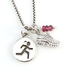 Girl Runner Sterling Silver Charm Necklace: Our simple design with the new popular oxidized chain is a simple statement piece. Your training will love you when you see yourself in the mirror wearing this reminder! Choose from varying options and customizations to make it a one of a kind.