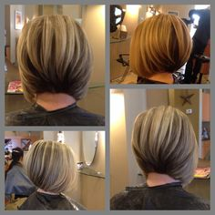 An always popular hair cut- angled bob with slight graduated layers. Partial set of hi-lights using l'Oreal MajiMesh with 30 vol