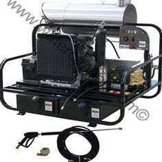 Hot Water Diesel Pressure Washer-Kohler KDW 1003-Electric Start-Stationary-AR/General Pump-4.0 to 8.0GPM-3200 to 4000PSI.To best tackle all types of applications in any location, a 12 VDC diesel fired burner, eight-gallon poly diesel fuel tank, 45 Amp charging system and battery box and make this Water Cannon pressure washer wholly self-contained.  MODEL 19K01