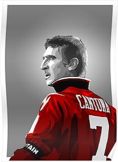 'Erik Cantona - MUFC' Poster by barrymasterson Manchester United Wallpaper, Manchester United Legends, Manchester United Football, Best Football Team, Sport Football, Nike Soccer, Soccer Cleats, Sports Day Poster, Bryan Robson