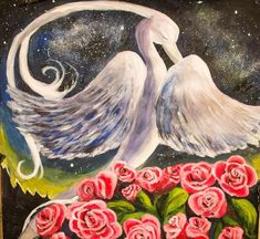 Phoenix Bird Art Acrylics Paintings on canvas - A majestic bird between roses with the night sky in the background, Beautiful art. Oil Painting Techniques, Painting Lessons, Painting & Drawing, Watercolor And Ink, Watercolor Paintings, Hanging Paintings, Channel Art, Bird Art, Art Quotes