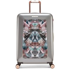Ted Baker Mirrored Minerals Suitcase - Medium ($365) ❤ liked on Polyvore featuring bags, luggage and silver