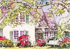 Custom house home portrait ACEO  pen and wash by artistjillian, $40.00