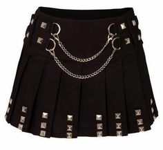 Jawbreaker Black Biker Mini Silver Chain Skirt Studs Goth ALL Sizes Punk Outfits, Gothic Outfits, Punk Fashion, Gothic Fashion, Rockabilly Fashion, Lolita Fashion, Fashion Boots, Punk Mode, Goth Skirt