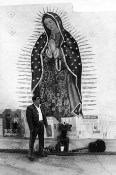 Our Lady of Guadalupe mural, Boyle Heights, Los Angeles, California photo by Virgil Mirano. 1989 LAPL