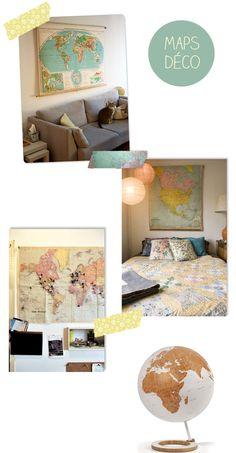 Mapas na decoração: para o quarto do Rapha, acima da cama