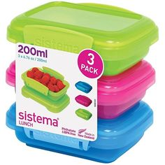 Sistema Lunch Collection Food Storage Containers, Assorted Colors, 6.7... (390 DOP) ❤ liked on Polyvore featuring home, kitchen & dining, food storage containers and colored food storage containers