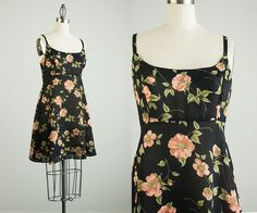 Vintage Floral Print Mini Dress / Size Small / Medium by decades, $34.00