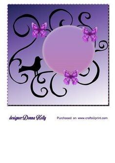 butterflies and bird insert purple on Craftsuprint designed by Donna Kelly - Multi purpose insert. approx 7x7, bird and butterflies on a whimsical swirl background in purple. - Now available for download!