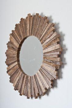Sunburst mirror 21x21x1 reclaimed wood by CarpenterCraig on Etsy, $170.00