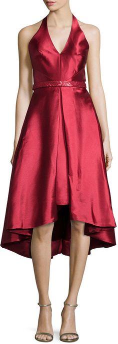 ML Monique Lhuillier Sleeveless V-Neck High-Low Cocktail Dress
