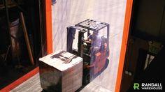 Strip Door Fork Lift Moving into Warehouse http://www.randallwarehouse.com/