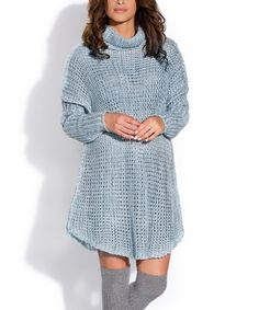 Another great find on #zulily! Blue Wool-Blend Sweater Dress #zulilyfinds