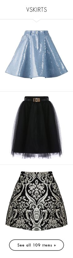 """""""VSKIRTS"""" by qave1998 ❤ liked on Polyvore featuring skirts, bottoms, gonne, moschino, blue, mid length a line skirt, mid length denim skirt, blue sequin skirt, zipper skirt and black"""