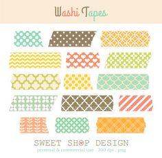 15 Washi Tapes Digital Clip Art, Clip Art Borders, Royalty Free Clip Art, Instant Download
