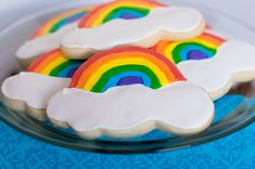 I made cookies very similar to these last year. But since I've become more familiar with royal icing, I decided to make these again -- this time decorating them with royal icing. I bought my rainbow and cloud cookie cutter from amazon.com -- though I'm sure Copper Gifts (a GREAT cookie cutter…