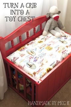 Toddler Bed converted to a bench. Green Bench. Repurposed furniture ...