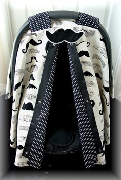carseat canopy, car seat cover, mustache, black and white, polka dots, Alexander Henry, baby car seat, bows, baby girl, baby boy, infant boy