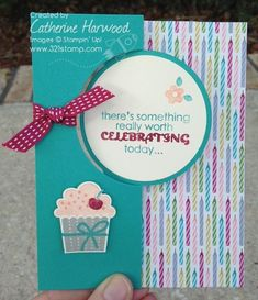 SU! Create a Cupcake and Remembering Your Birthday stamp sets; Circle Card Thinlits die; Birthday Basics DSP; Bermuda bay card stock - Catherine Harwood