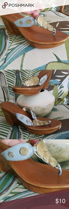 """Elegant Italian  Embellished Wedge 8.5 SO rich and classy 3"""" wedge sandals with gold, medallions over powder blue leather uppers.  Dress up or down. Gently warn only once. Run slightly on the small side. No smoke home. A. Giannetti Shoes Sandals"""