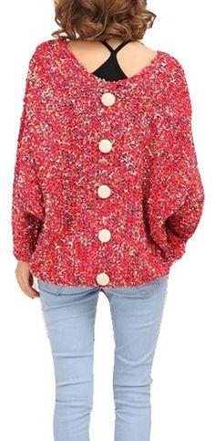 $46.84 cool Vangood Women's Bat Sleeve Back Buckle Sweater
