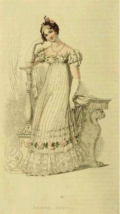 Regency Era Bridal Dress, 1816, Ackermann Repository of Arts - Internet Archive (http://www.archive.org/details/repositoryofarts116acke)