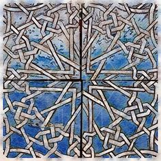 Printable Art, Instant Download, DIY Print At Home, Art Print, Watercolor, Old Geometric Mosaic Tile Blue by edeblas on Etsy