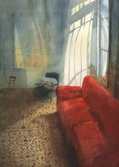 ◇ Artful Interiors ◇ paintings of beautiful rooms - Sergei Kurbatov - Red Sofa