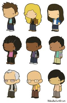 Lil' Community: Six Seasons and a Movie deluxe booster pack!  This pack includes Jeff Winger, Britta Perry, Annie Edison, Shirley Bennett, Troy Barnes, Abed Nadir, Pierce Hawthorne of Hawthorne Wipes, Dean Pelton andSeñor Chang!