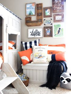Gallery wall ideas that help with Designing Spaces for Kids to Provide Security and Self-Confidence. Ideas Gallery Wall for Adventure Room! via @chaoticallycreative