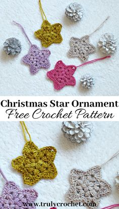 Simple crochet Star Ornaments for Christmas, beginner friendly pattern. Festive crochet decorations that are easy and quick using this free crochet pattern Crochet Star Patterns, Crochet Stars, Crochet Motifs, Christmas Crochet Patterns, Holiday Crochet, Crochet Snowflakes, Crochet Patterns For Beginners, Thread Crochet, Crochet Gifts