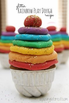 Glitter Rainbow Play Dough ~ I love this simple reduced salt recipe.   Repinned by Apraxiakidslearning.