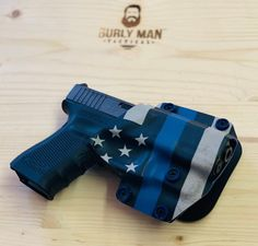 Excited to share this item from my shop: Glock 19 owb Thin Blue Line amd Police Blue Kydex Holster IWB Appendix Made USA Burly Man Tactical Thin Blue Line Flag, Thin Blue Lines, Custom Holsters, M&p Shield, Kydex Holster, Police, Guns, Etsy Shop, Diy