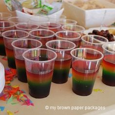 Rainbow Jelly Cups easy colourful party food