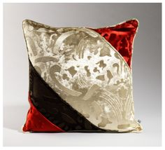 This looks divine! Red, black and white velvet throw pillow printed in relief.  So pretty!