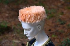 VINTAGE PILLBOX HAT  Peach Feather  with by SuperFunkyStuff, $28.00