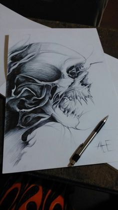 Skull made by pencil