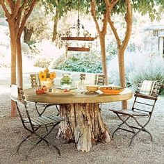 This Old House highlighted 75 new and not-so-new suggestions on ways to upgrade your outdoor space, each for $75 or less.  From hammocks to birdbaths; water gardens to cheerfully painted fences, these are just a few from their extensive list.  Following, I whittled the list down to include my 10 favorite ideas, with a slight variation or two thrown in the mix. Tree Table, Log Table, Picnic Table, Rustic Table, Tree Stump Table, Rustic Wood, Tree Stump Decor, Table Bases, Picnic Area