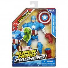 Captain America 6 Inch Figure - Marvel Avengers Super Hero Mashers Battle Upgrade