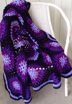Crocheted afghan five shades of purple