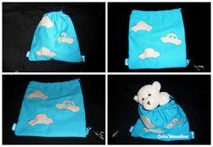 DIY couture, sac facile pour enfant. Un tissus, plié en 2, coudre les rebords en insérant des bouts de ruban pour la ficelle. Un rebord en plus vers l'ouverture pour passer les liens. Quelques décos et l'affaire est dans l'sac (si j'puis dire ...)