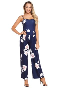 8944d394e95 Navy Blue Floral Print Wide Leg Jumpsuit •There are dropship outwear for  women that is