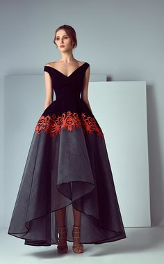 Black bodice, black & grey skirt with orange trim | Amazing dresses by Saiid Kobeisy | Handmade